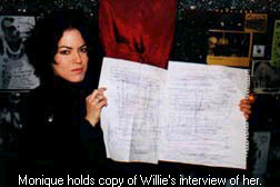 Monique Ortiz holding Willie Loco's written transcript.