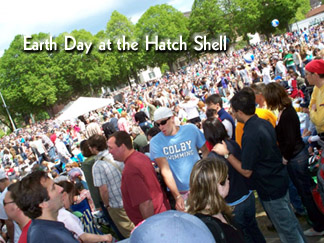 Crowd at the Earth Day at the Hatch Shell...Save the planet from THIS!!