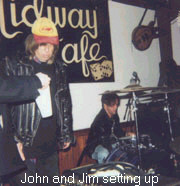 John Felice and Jim of the Real Kids setting up